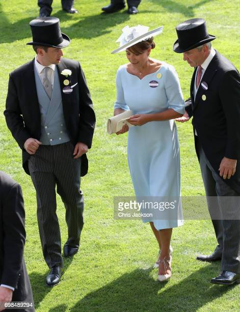 Carole Middeleton and Michael Middleton in the parade ring during Royal Ascot 2017 at Ascot Racecourse on June 20 2017 in Ascot England