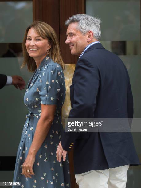 Carole Middleton and Michael Middleton arrive to see Catherine Duchess of Cambridge and Prince William Duke of Cambridge and their newborn son at the...