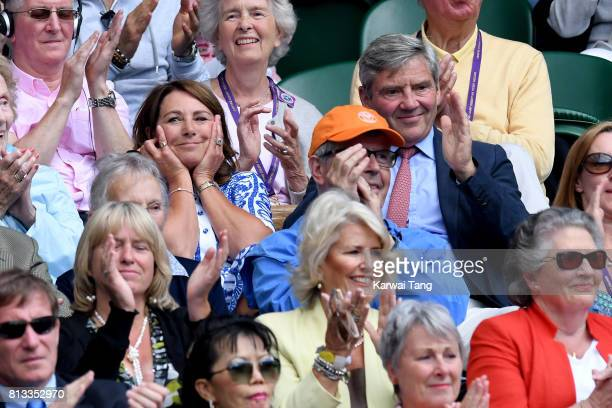 Carole Middleton and Michael Middleton attend day nine of the Wimbledon Tennis Championships at the All England Lawn Tennis and Croquet Club on July...