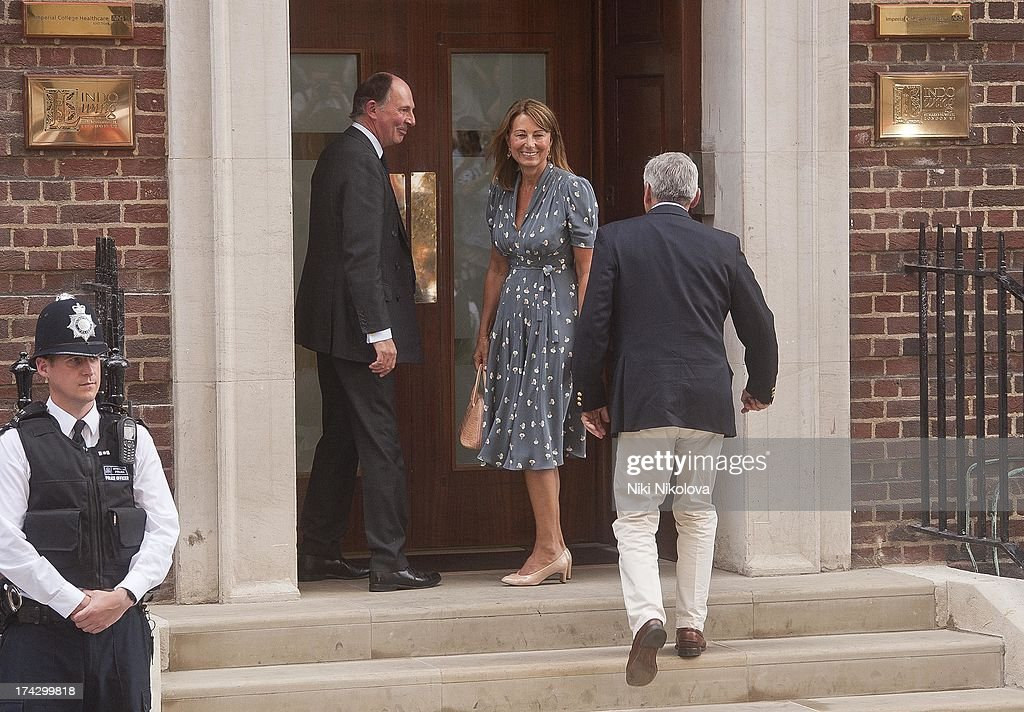 <a gi-track='captionPersonalityLinkClicked' href=/galleries/search?phrase=Carole+Middleton&family=editorial&specificpeople=4079988 ng-click='$event.stopPropagation()'>Carole Middleton</a> and Michael Middleton depart The Lindo Wing after visiting Catherine, Duchess Of Cambridge and her newborn son at St Mary's Hospital at St Mary's Hospital on July 23, 2013 in London, England.