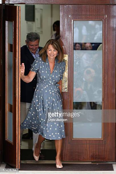 Carole Middleton and Michael Middleton leave The Lindo Wing after visiting The Duchess Of Cambridge and her newborn son at St Mary's Hospital on July...