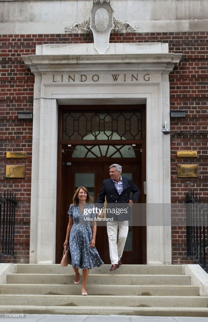 Carole Middleton and Michael Middleton (R) visit The Duke and Duchess of Cambridge and their newborn son at The Lindo Wing, St Mary's Hospital on July 23, 2013 in London, England.