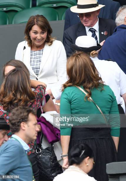 Carole Middleton and Mirka Federer attend day eleven of the Wimbledon Tennis Championships at the All England Lawn Tennis and Croquet Club on July 14...
