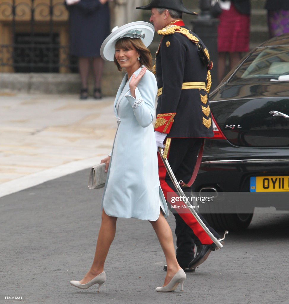 <a gi-track='captionPersonalityLinkClicked' href=/galleries/search?phrase=Carole+Middleton&family=editorial&specificpeople=4079988 ng-click='$event.stopPropagation()'>Carole Middleton</a> arrives to attend the Royal Wedding of Prince William to Catherine Middleton at Westminster Abbey on April 29, 2011 in London, England. The marriage of the second in line to the British throne is to be led by the Archbishop of Canterbury and will be attended by 1900 guests, including foreign Royal family members and heads of state. Thousands of well-wishers from around the world have also flocked to London to witness the spectacle and pageantry of the Royal Wedding.