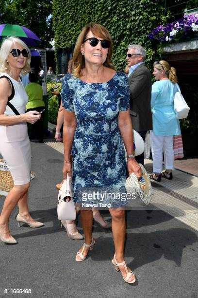 Carole Middleton attends day seven of the Wimbledon Tennis Championships at the All England Lawn Tennis and Croquet Club on July 10 2017 in London...