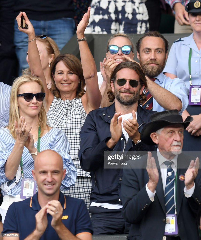 Carole Middleton, her son James Middleton and Bradley Cooper (front) react as they attend day 11 of Wimbledon 2017 on July 14, 2017 in London, England.