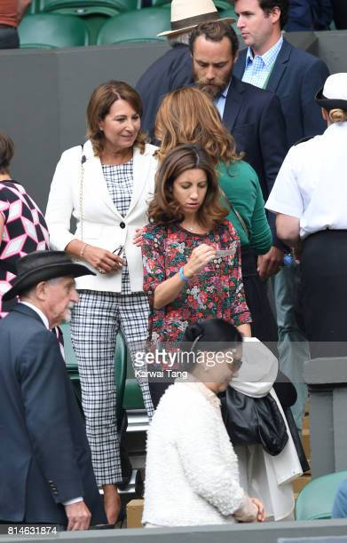 Carole Middleton James Middleton and Mirka Federer attend day eleven of the Wimbledon Tennis Championships at the All England Lawn Tennis and Croquet...