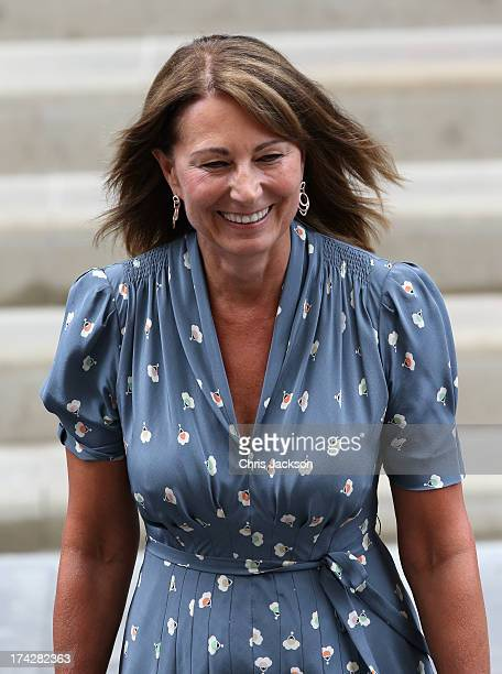 Carole Middleton leaves The Lindo Wing after visiting The Duchess Of Cambridge and her newborn son at St Mary's Hospital on July 23 2013 in London...