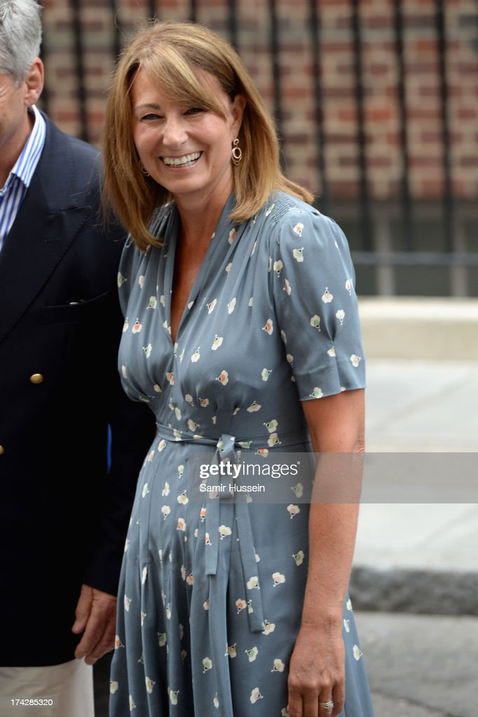 <a gi-track='captionPersonalityLinkClicked' href=/galleries/search?phrase=Carole+Middleton&family=editorial&specificpeople=4079988 ng-click='$event.stopPropagation()'>Carole Middleton</a> leaves The Lindo Wing after visiting The Duchess Of Cambridge and her newborn son at St Mary's Hospital on July 23, 2013 in London, England.