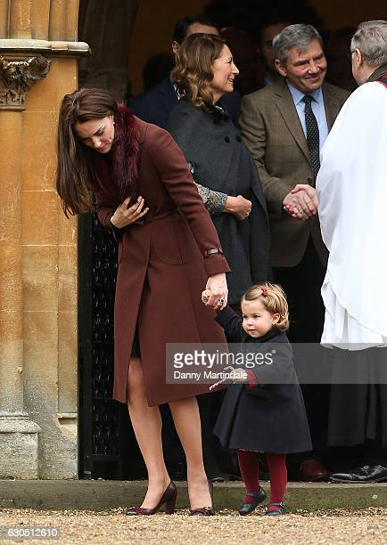 Carole Middleton Michael Middleton Princess Charlotte of Cambridge and Catherine Duchess of Cambridge attend Church on Christmas Day on December 25...