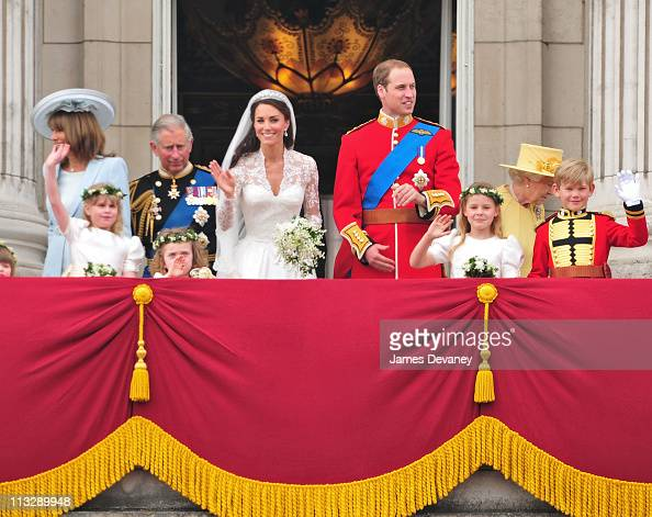 Carole Middleton Prince Charles Prince of Wales Catherine Duchess of Cambridge Prince William Duke of Cambridge and HRH Queen Elizabeth II greet...
