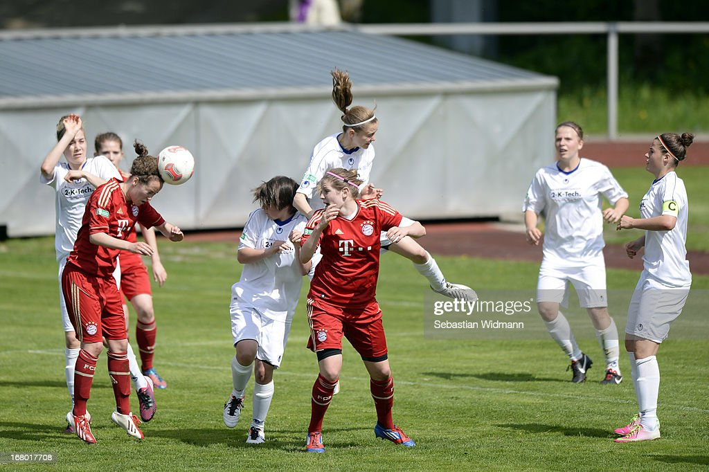 Carolin Bader of Muenchen heads the ball during a corner during the B Junior Girls match between Bayern Muenchen and VfL Sindelfingen at Sportpark Aschheim on May 4, 2013 in Aschheim, Germany.