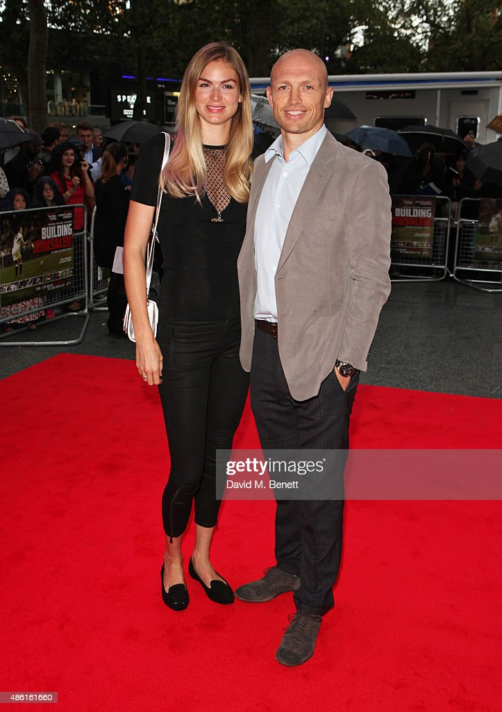 Carolin Hauskeller and Matt Dawson attend the World Premiere of 'Building Jerusalem' at the Empire Leicester Square on September 1 2015 in London...