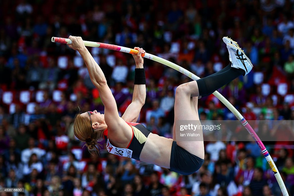 Carolin Hingst of Germany competes in the Women's Pole Vault qualification during day one of the 22nd European Athletics Championships at Stadium Letzigrund on August 12, 2014 in Zurich, Switzerland.