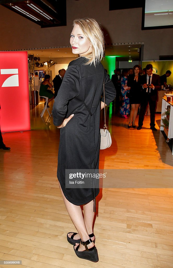 Carolin Niemczyk, the singer of the band 'Glasperlenspiel' during the Green Tec Award After Show Party at ICM Munich on May 29, 2016 in Munich, Germany.