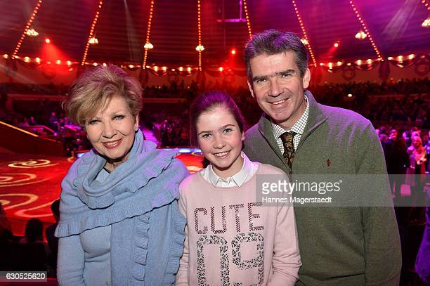 Carolin Reiber and her son Dr Marcus Maier and her granddaughter Magdalena during the premiere of 'Tierisch gut' at Circus Krone on December 25 2016...