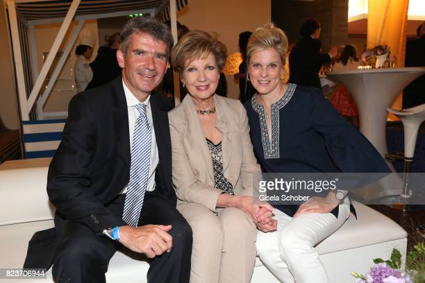 Carolin Reiber with her son Dr Marcus Maier and his wife Dr Cathrin Maier during the summer party of and at Hotel Bayerischer Hof on July 27 2017 in...