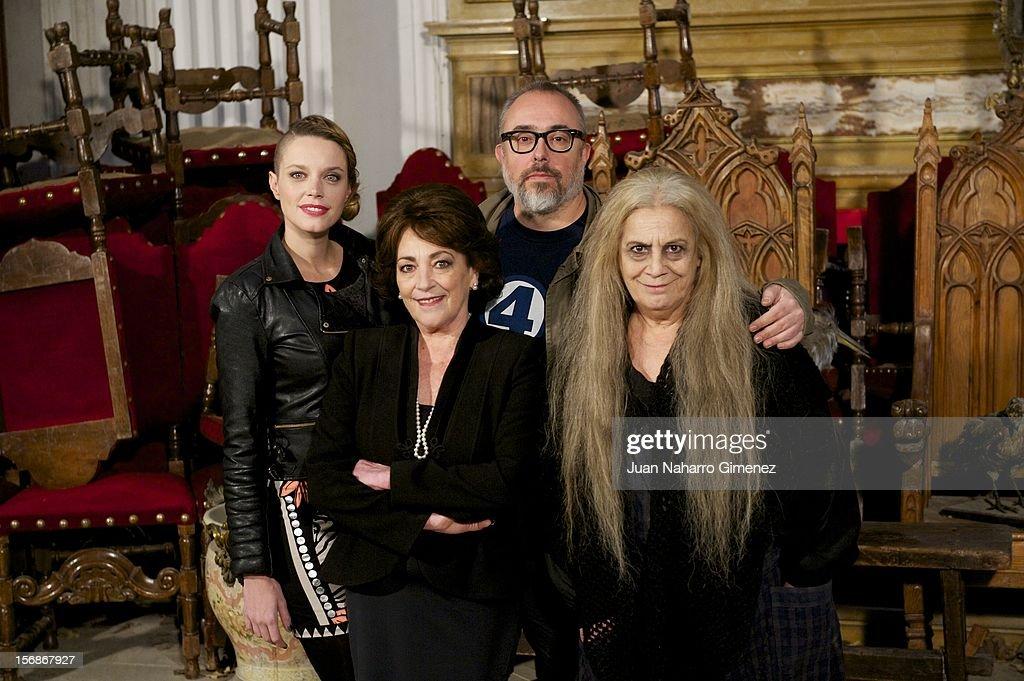 Carolina Bang, Carmen Maura, Alex de la Iglesia and Terele Pavez attend 'Las Brujas de Zugarramurdi' on set filming at Palacio del Infante Don Luis on November 23, 2012 in Madrid, Spain.