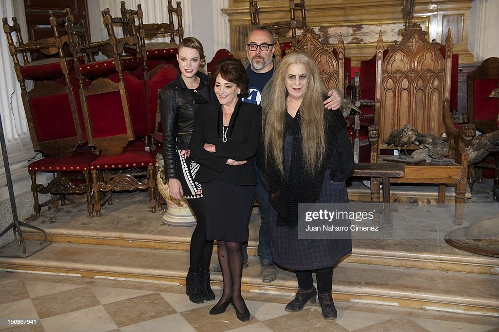 Carolina Bang, Carmen Maura, Alex de la Iglesia and Terele Pavez attend 'Las Brujas de Zugarramurdi' on set filming at Palacio del Infante Don Luis on November 23, 2012 in Madrid, Spain.