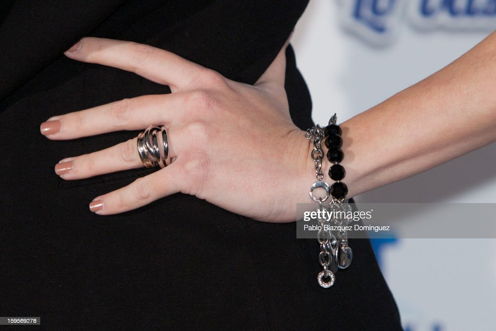 Carolina Cerezuela (bracelet and ring detail) presents new Dodot campaign on January 16, 2013 in Madrid, Spain.