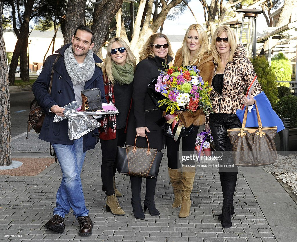 Carolina Cerezuela several months pregnant celebrates with her mother Maria Jose Gil and friends her 34th birthday on January 14 2014 in Madrid Spain