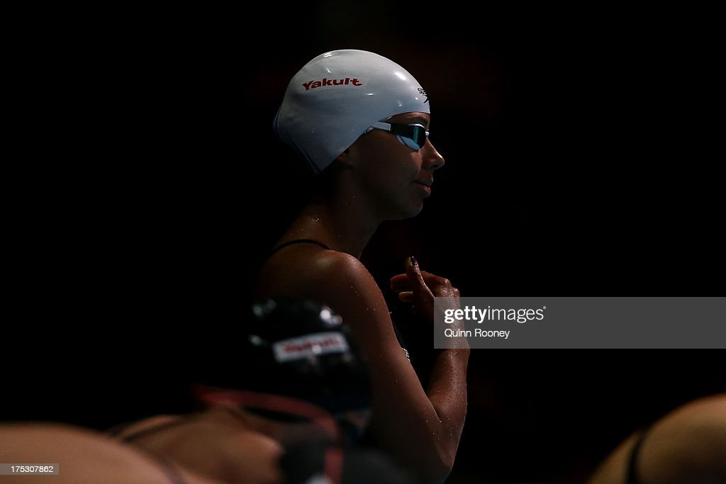Carolina Colorado Henao of Columbia prepares for the Swimming Women's 50m Butterfly preliminaries heat four on day fourteen of the 15th FINA World...