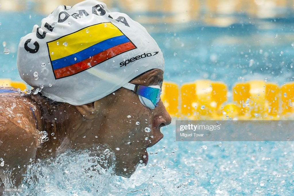 Carolina Colorado of Colombia competes during the women's 100 meter butterfly as part of the XVII Bolivarian Games Trujillo 2013 at Mansiche Stadium...