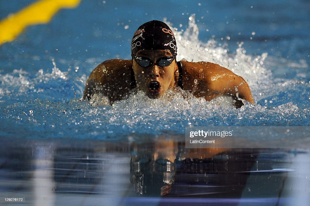 Carolina Colorado of Colombia during the Women's 100 meter Butterfly in the 2011 XVI Pan American Games at Scotiabank Aquatic Center on October 26...