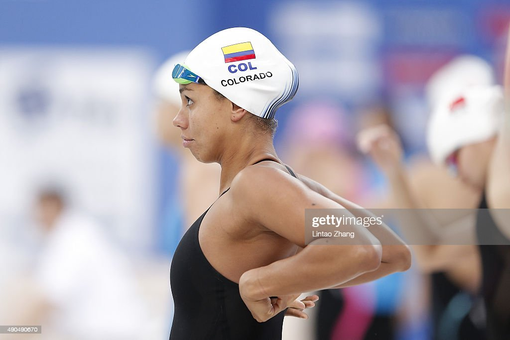 Carolina Colorado of Columbia prepares to compete in the Women's 100meter Butterfly preliminaries at the National Aquatics Centre during day one of...