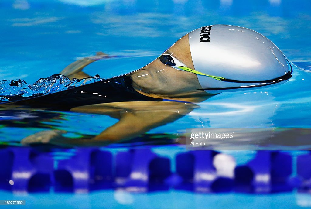 Carolina Colorado of Columbia swims the Women 200m backstroke heat at the Pan Am Games on July 15 2015 in Toronto Canada