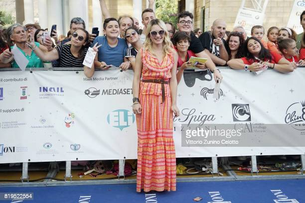 Carolina Crescentini attends Giffoni Film Festival 2017 blue carpet on July 20 2017 in Giffoni Valle Piana Italy