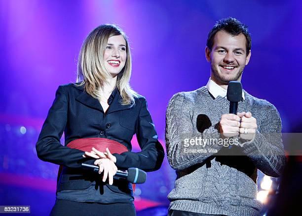 Carolina Di Domenico and Alessandro Cattelan present the Coca Cola @ MTV at San Giovanni In Laterano Square on October 11 2008 in Rome Italy