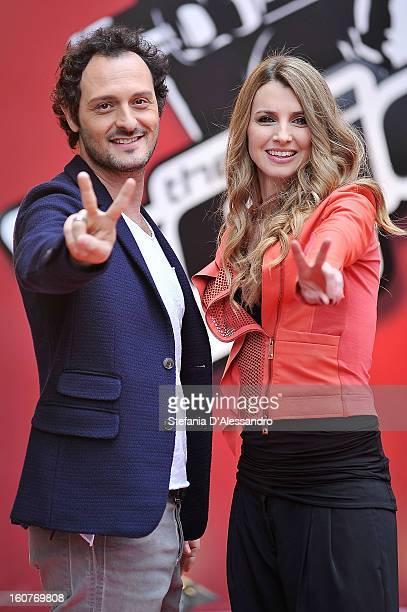 Carolina Di Domenico and Fabio Troiano attend 'The Voice' Italian TV Show Photocall on February 5 2013 in Milan Italy