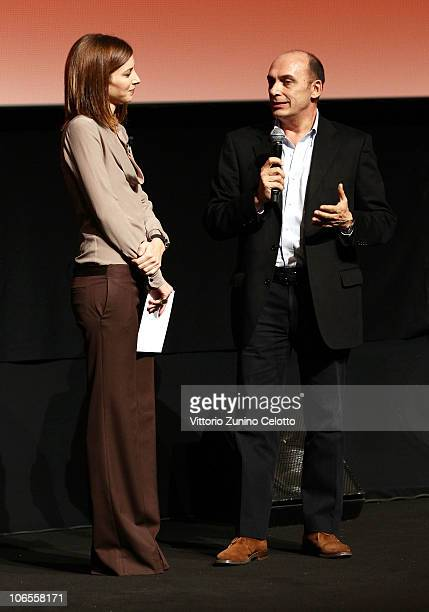 Carolina Di Domenico and Stefano Piastrelli speak on stage at the Collateral Awards ceremony during the 5th International Rome Film Festival at the...