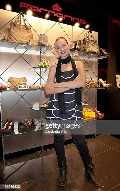 Carolina Di Domenico attends the Vogue Fashion's Night Out 2012 at the Fornarina boutique on September 13 2012 in Rome Italy