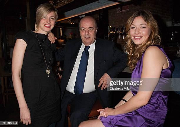 VJ Carolina Di Domenico FIFA agent Ernesto Bronzett and actress Sarah Felberbaum attend 'Wwwcaffebronzetticom' press conference at The Perfect Bun on...