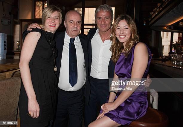 Carolina Di Domenico FIFA agent Ernesto Bronzetti Giampiero Pocetta and actress Sarah Felberbaum attend 'Wwwcaffebronzetticom' press conference at...