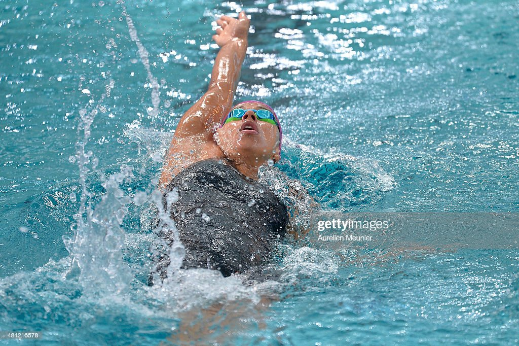 Carolina Henao Colorado of Colombia competes in the 100m Women's Backstroke on day two of the FINA Swimming World Cup 2015 on August 16 2015 in...