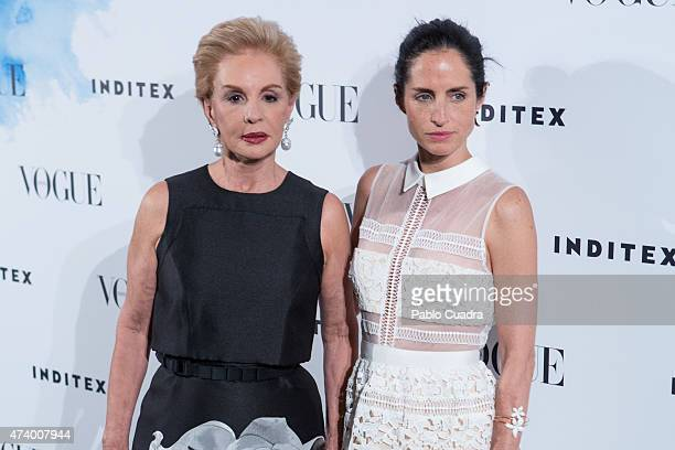 Carolina Herrera and her daughter Carolina Adriana Herrera attend the 'Vogue Who's On Next' party at the Duarte Pinto Coelho Palace on May 19 2015 in...