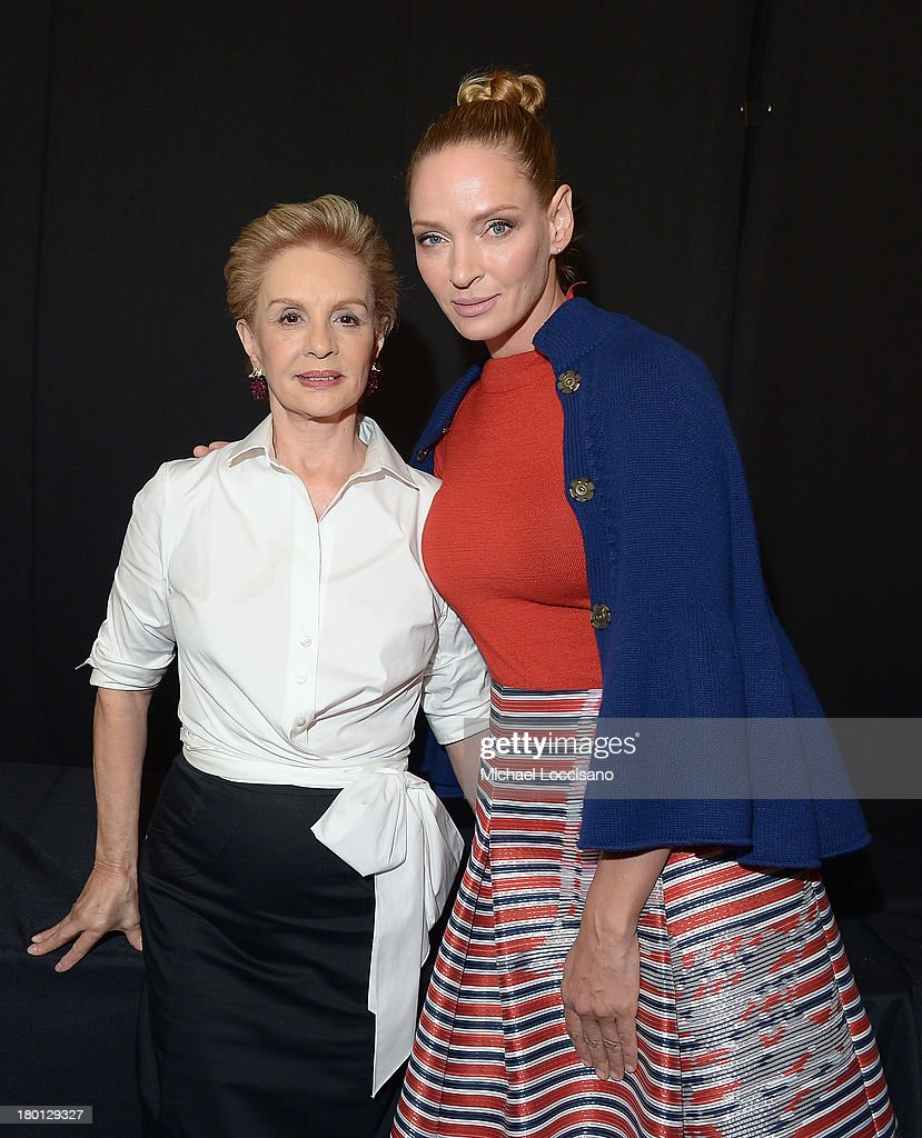 Carolina Herrera (L) and <a gi-track='captionPersonalityLinkClicked' href=/galleries/search?phrase=Uma+Thurman&family=editorial&specificpeople=171973 ng-click='$event.stopPropagation()'>Uma Thurman</a> pose backstage at the Carolina Herrera fashion show during Mercedes-Benz Fashion Week Spring 2014 at The Theatre at Lincoln Center on September 9, 2013 in New York City.