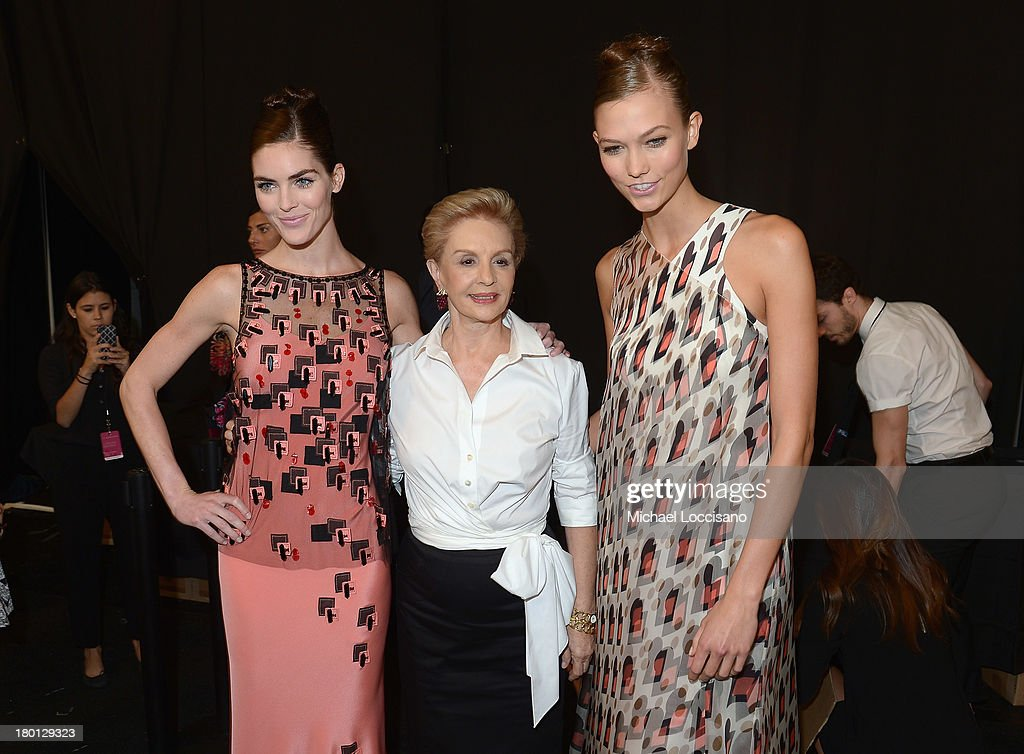 Carolina Herrera (C) poses backstage at the Carolina Herrera fashion show during Mercedes-Benz Fashion Week Spring 2014 at The Theatre at Lincoln Center on September 9, 2013 in New York City.