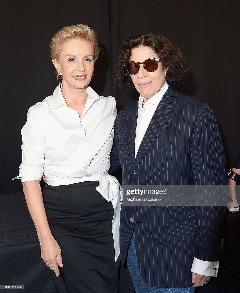 Carolina Herrera (L) poses backstage at the Carolina Herrera fashion show during Mercedes-Benz Fashion Week Spring 2014 at The Theatre at Lincoln Center on September 9, 2013 in New York City.