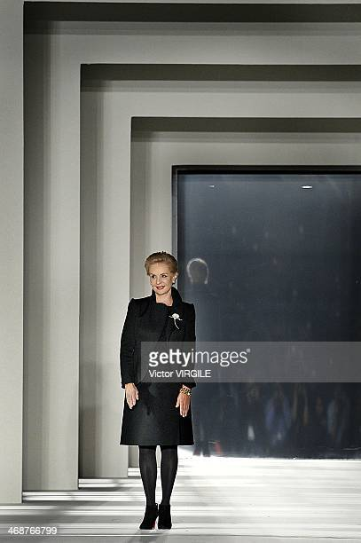 Carolina Herrera walks the runway at the Carolina Herrera Ready to Wear Fall/Winter 20142015 fashion show during MercedesBenz Fashion Week Fall 2014...