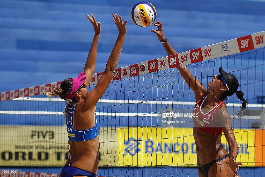 Carolina Horta of Brazil in action during main draw match against Andrea Galindo of Colombia during the FIVB Fortaleza Open on Futuro Beach on April 29, 2016 in Fortaleza, Brazil.