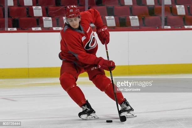 Carolina Hurricanes Center Martin Necas handles the puck during the Carolina Hurricanes Development Camp on June 28 2017 at the PNC Arena in Raleigh...