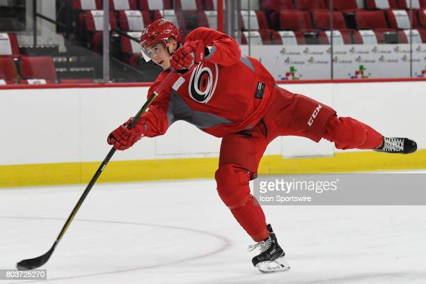 Carolina Hurricanes Center Martin Necas shoots the puck during the Carolina Hurricanes Development Camp on June 28 2017 at the PNC Arena in Raleigh NC