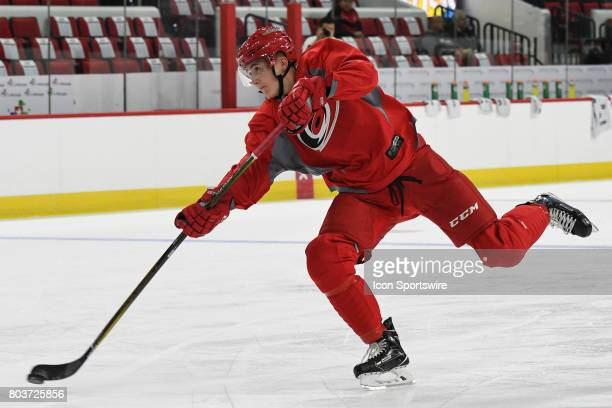 Carolina Hurricanes Center Martin Necas takes a shot during the Carolina Hurricanes Development Camp on June 28 2017 at the PNC Arena in Raleigh NC