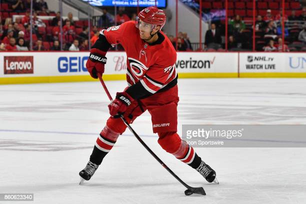 Carolina Hurricanes Center Victor Rask shoots the puck in a game between the Columbus Blue Jackets and the Carolina Hurricanes at the PNC Arena in...