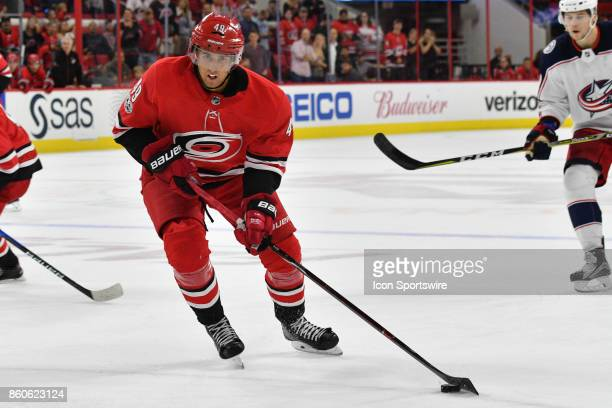 Carolina Hurricanes Center Victor Rask skates with the puck in a game between the Columbus Blue Jackets and the Carolina Hurricanes at the PNC Arena...