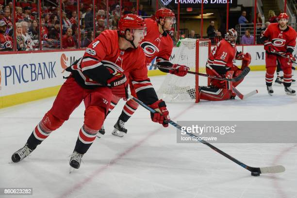 Carolina Hurricanes Defenceman Haydn Fleury skates with the puck in a game between the Columbus Blue Jackets and the Carolina Hurricanes at the PNC...